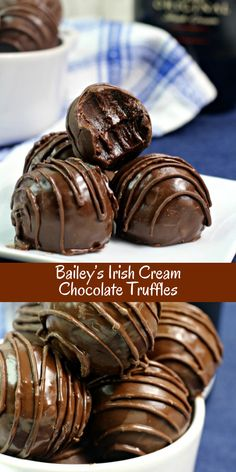 Bailey's Irish Creme Chocolate Truffles Decadent Bailey's Irish Cream chocolate truffles put a fun adult spin on chocolate truffles. This chocolate truffle recipe packs this candy with loads of flavor with notes of coffee and the Irish cream liqueur. Köstliche Desserts, Delicious Desserts, Dessert Recipes, Healthy Desserts, Mexican Desserts, Dessert Food, Chocolate Truffles, Chocolate Recipes, Chocolate Chocolate