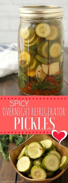Spicy Pickle Recipe - how to make homemade overnight refrigerator pickles.