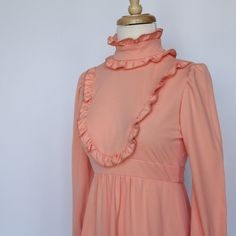 60's/70's  Empire Waist Maxi Dress in Peach by CenterStageVintage, $32.00