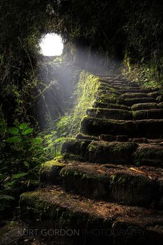 Ancient Inca Stone Staircase. Looks like the cave.