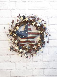 Patriotic Wreath, Americana Wreath, Rustic Red White and Blue, Fourth of July Decoration, Memorial Day Wreath
