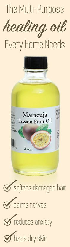 Maracuja Passion Fruit Oil - 4 oz The Multi-Purpose healing oil that every home needs! Hair Remedies For Growth, Hair Growth Tips, Healing Oils, Aromatherapy Oils, Natural Oils, Natural Skin, Natural Beauty, Natural Products, Natural Healing