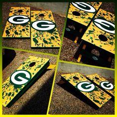 A Green Bay Packers Cornhole board set!  www.bklboards.com
