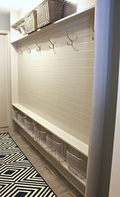 Good design for narrow places. The Creativity Exchange - laundry/mud rooms - Sherwin Williams - Mindful Gray - mudroom, mud room, mudroom ideas, mudroom runner, mudroom ru...