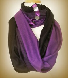 Black and purple super soft viscose and acrylic blend pashmina infinity scarf ombre effect with large shell buttons only one left in store $50.00