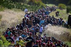 Exodus: Migrants walk through the countryside after crossing the…