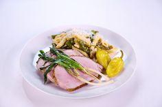 Mario's pork roast.  Serve with penne/asparagus