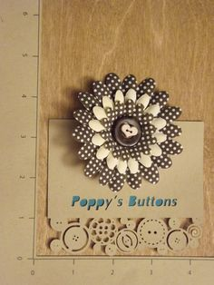 Brown Polka Dot and Eggshell Heart Button Flower Barrette/Pin by PoppysButtons on Etsy