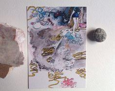 Cartolina illustrata ragazza regalo compleanno di theberingsea