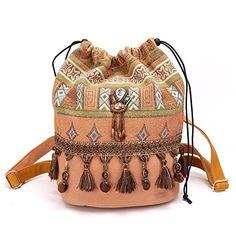 String Brown Backpack Women Casual Fashion Boho Shoulder Bag