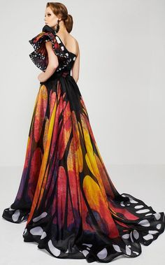 MNM Couture - 2381 Empress Elegance Asymmetrical Evening Gown - Source by femaleKili - Evening Gowns Couture, Couture Dresses, Evening Dresses, Fashion Dresses, Afternoon Dresses, Flapper Dresses, Butterfly Fashion, Butterfly Dress, Monarch Butterfly