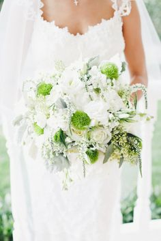 White and green bouquet: http://www.stylemepretty.com/2013/10/03/classic-backyard-wedding-from-onelove-photography/ | Photography: onelove photography - http://onelove-photo.com/