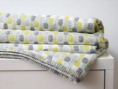 "British textile designer, Eleanor Pritchard's 100% wool ""shingle"" pattern blanket"