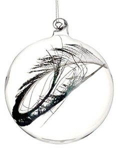 Felices Pascuas Collection 3.25 inch Regal Peacock Clear Glass Christmas Ball Ornament with Faux Feather
