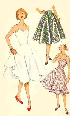 """Vintage 1950's Sewing Pattern Rockabilly Slip & Petticoat Fitted Full Bust 38"""" #Simplicity"""