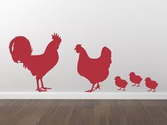 Decorate any room of your house with this Rooster,  Chicken and chicks decal set! This chicken family would go  great in a kitchen, breakfast nook, dining room, or anywhere!  Brought to you by The Decal Lab!
