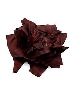 Brunello Cucinelli Silk Satin & Leather Floral Pin 5600 руб