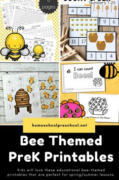 Explore This Wonderful Collection Of Free Preschool Bee Themed Printables That Focus On Math, Science, And Literacy. Theres Even A Fun Craft Template For Your Little Ones. Preschool Learning Activities, Free Preschool, Preschool Printables, Preschool Lessons, Summer Activities For Kids, Preschool Activities, Insect Activities, Preschool Worksheets, Free Printables
