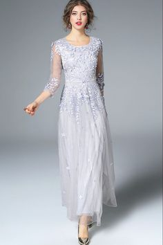 Shop Elegant Nipped Waist Lace Patch Floral Embroidery Maxi Dress at EZPOPSY. Mob Dresses, Special Dresses, Tea Length Dresses, Dressy Dresses, Special Occasion Dresses, Lace Dresses, Bride Dresses, Mother Of Bride Outfits, Mother Of Groom Dresses