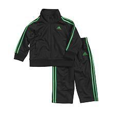 Adidas Boys 2 Piece Black/Green Zip Up Jacket and Matching Pant Tricot Set  Toddler