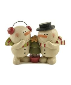 Love this Snowman Couple & Christmas Tree Figurine on #zulily! #zulilyfinds