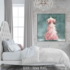 Vintage chic pink teal canvas wall art by Beverly Brown in a girly, rustic glam, luxury neutral grey bedroom. Colorful Wall Art, Colorful Decor, Glam Bedroom, Bedroom Decor, Feminine Decor, Brown Art, Pink Feathers, Living Room Colors, French Country Decorating