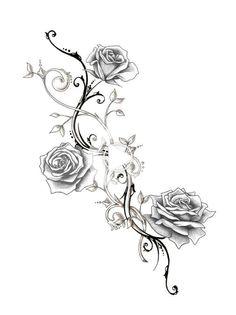 Hübsche Neu 2 - flower tattoos designs - New Ideas Rose Thorn Tattoo, Flower Vine Tattoos, Rose Drawing Tattoo, Pretty Flower Tattoos, Flower Tattoo Designs, Beautiful Tattoos, Cute Tattoos, Leg Tattoos, Body Art Tattoos