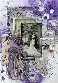 Scraps of Elegance scrapbook kits: Daria Makarova created stunning purple vintage mixed media canvas with our Feb 2016 kit 'Garden Gala'. Subscribe to our kits and receive a new box of mixed media scrapbooking fun delivered to you each month! www.scrapsofdarkness.com