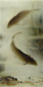 Two carps by Lee Man Fong (1913–1988). Oil on board, 102 x 49 cm