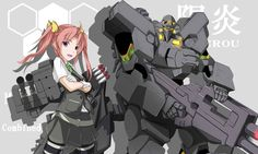 1girl :o ahoge background_text bad_id commentary_request copyright_name crossed_arms crossover gloves green_ribbon grey_skirt gun hair_ribbon kagerou_(kantai_collection) kantai_collection looking_at_viewer machinery mecha mototaro muvluv namesake pink_hair pleated_skirt ribbon short_sleeves skirt standing turret twintails violet_eyes weapon