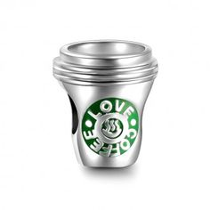 Silver Love Coffee Charm, one cup coffee everyday , soufeel Charms, enjoy your life