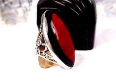 CAROL BRODIE Sterling Silver Onyx Garnet Jasper Gemstone Designer Sz 5 1/2 Ring #CarolBrodie #Cocktail #MothersDay