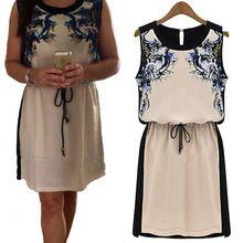 Mulheres de vestido ocasional impresso vestido moda 2014 novo verão quente de vendas das mulheres roupas tropical Chiffon Pinched cintura roupas femininas(China (Mainland))