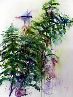 Forest Fern Original Watercolor & Ink 24 by 18 inch by Ginette #watercolors #art #paintings #ginettecallaway