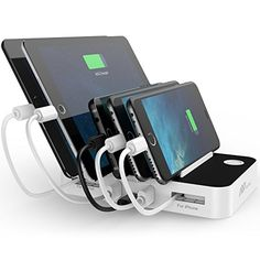 FlePow 5Port USB Charging Station with TypeC Charge Port Builtin Charge Cables Cable Organizer for Samsung Galaxy S8 S8 plus iPhone iPad Macbook Androids Tablets TypeC Cable provided *** For more information, visit image link. Note: It's an affiliate link to Amazon #MenSmartWatch