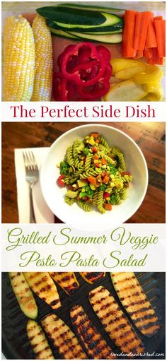 Grilled Summer Veggie Pesto Pasta Salad - The perfect side dish for outdoor entertaining! Vegetarian, dairy free, can be gluten free.