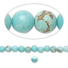 Bead, magnesite (dyed / stabilized), turquoise blue, 4mm round, B grade, Mohs hardness 3-1/2 to 4. Sold per 16-inch strand.