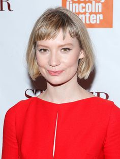 Mia Wasikowska: Short, baby fringe, like Mia Wasikowska tends to sport, is an edgy-cool accent to a lob.
