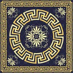 Classic golden round Greek ornament (Meander) in square frame, vector