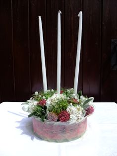 A floral cake arrangement using flowers from the garden. Floral Cake, Garden, Flowers, Plants, Design, Garten, Gardening, Floral, Tuin