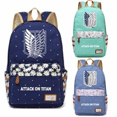 Attack on Titan Canvas Flower Women's Backpack - Anime Shop Online Anime Jacket, Naruto Clothing, Black Clover Manga, Anime Halloween, Anime Store, Susanoo, Diaper Bag Backpack, Diaper Bags, Levi X Eren