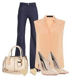 """""""Casual Friday Week 3"""" by vanessa-bohlmann ❤ liked on Polyvore featuring 7 For All Mankind, Jaeger, River Island, Sophia Webster and Kate Spade"""