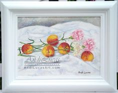 ORIGINAL FRAMED OIL PAINTING PEACHES & CARNATIONS FLOWERS FRUIT ART ANDI LUCAS