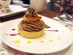 Mont Blanc Tart from  L'OCCITANE CAFE' in Taipei East side, Taiwan.   http://sowilokenaz.blogspot.com/2013/01/l-cafe.html