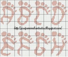 Monograma - Alfabeto em forma de pé de bebê - para ponto cruz - parte 1