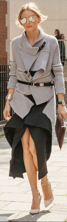 Who made Olivia Palermo's gray sweater, silver sunglasses, tan ankle strap pumps, and black skirt