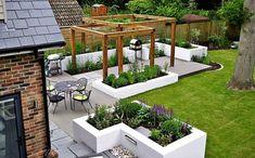contemporary landscape ideas composite decking wood pergola planter boxes modern patio design Source by lanafry Modern Patio Design, Modern Landscape Design, Modern Backyard, Modern Landscaping, Backyard Patio, Backyard Landscaping, Landscaping Ideas, Modern Pergola, Yard Design