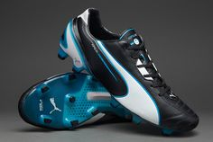 Puma Football Boots - Puma King SL FG - Firm Ground - Soccer Cleats - Black-White-Fluo Blue #pdsmostwanted