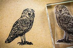 Burrowing Owl Rubber Stamp  2x3 Inches by StandardStampCo on Etsy