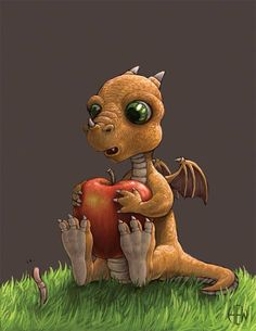 Dragon being extra excited about his apple and/or intrigued by its former inhabitant is toooooooooo cute for me! Clay Dragon, Dragon 2, Fantasy Dragon, Fantasy Art, Magical Creatures, Fantasy Creatures, Illustrations, Illustration Art, Dragon Oriental